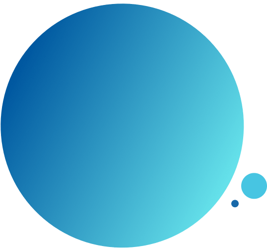 Large blue gradient circle with two smaller blue circles