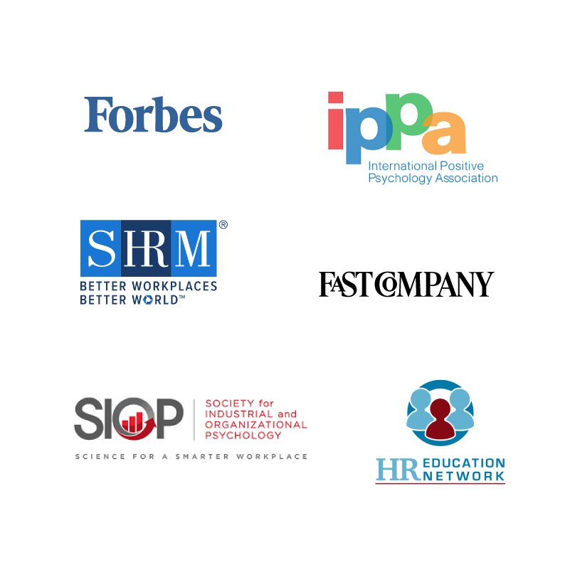 Various industry logos displayed as a group: Forbes, IPPA, SHRM, Fast Company, SIOP, HR Education Network.