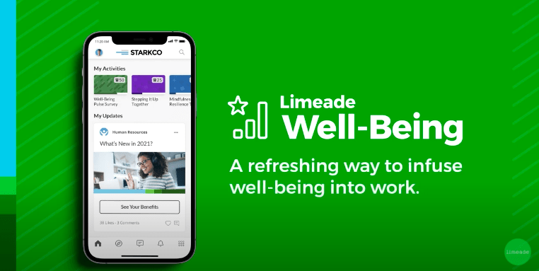 Limeade Well-Being graphic with screen shot of mobile app